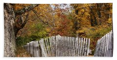 Leaves Along The Fence Hand Towel by Lois Lepisto