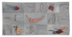Bath Towel featuring the photograph Leaves And Cracks Collage by Ben and Raisa Gertsberg