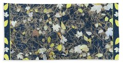 Leaves And Needles On Pavement With Border Hand Towel