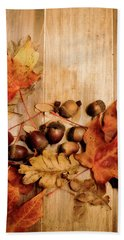 Hand Towel featuring the photograph Leaves And Nuts 2 by Rebecca Cozart