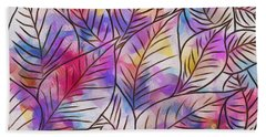 Leaves Colorful Abstract Design Hand Towel
