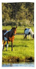 Leaving The Chincoteague Ponies Bath Towel