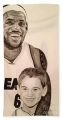 Bath Towel featuring the painting Lebron And Carter by Tamir Barkan