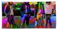 Led Zeppelin Band Portrait Paint Splatters Pop Art Hand Towel by Design Turnpike