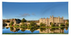 Leeds Castle And Moat Reflections Bath Towel
