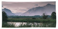 Leisure Boat On River Adda In Northern Italy, Close To Lake Como - Reflection Of Italian Alps Hand Towel