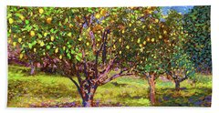 Lemon Grove Of Citrus Fruit Trees Bath Towel