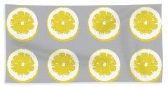 Lemon Slices On Grey- Art By Linda Woods Bath Towel