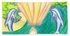 Hand Towel featuring the drawing Lemuria Atlantis by Kim Sy Ok