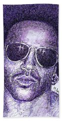 Lenny Kravitz Hand Towel by Maria Arango