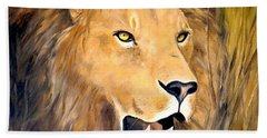 Hand Towel featuring the painting Leo by Alan Lakin