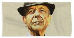 Leonard Cohen Hand Towel by Sergey Lukashin
