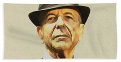 Leonard Cohen Bath Towel by Sergey Lukashin
