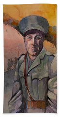 Hand Towel featuring the painting Leonard Keysor Vc by Ray Agius