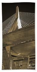 Leonard P. Zakim Bunker Hill Bridge In Sepia Hand Towel