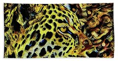 Bath Towel featuring the painting Leopard Abstract  by David Mckinney