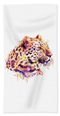 Leopard Head Hand Towel by Marian Voicu