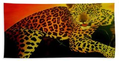 Leopard On A Tree Bath Towel by Manuel Sanchez