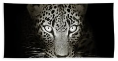 Leopard Portrait In The Dark Hand Towel