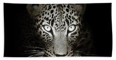 Leopard Portrait In The Dark Hand Towel
