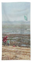 Hand Towel featuring the painting Lepe Beach Windy Winter Day by Martin Davey