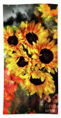 Bath Towel featuring the photograph Les Tournesols by Jack Torcello