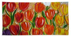 Les Tulipes - The Tulips Hand Towel by Gioia Albano