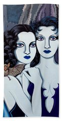Les Vamperes Bleu Hand Towel by Tara Hutton