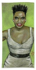 Bath Towel featuring the drawing Leslie Jones by P J Lewis