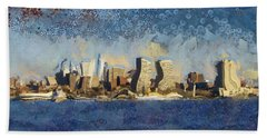 Hand Towel featuring the mixed media Less Wacky Philly Skyline by Trish Tritz