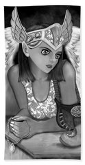 Let Me Explain - Black And White Fantasy Art Bath Towel