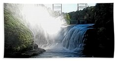 Letchworth State Park Upper Falls And Railroad Trestle Abstract Hand Towel