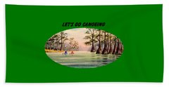 Hand Towel featuring the painting Let's Go Canoeing by Bill Holkham