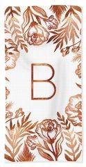 Letter B - Rose Gold Glitter Flowers Hand Towel