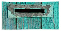Hand Towel featuring the photograph Letter Box On Blue Wood by John Williams