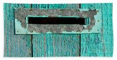 Letter Box On Blue Wood Bath Towel by John Williams