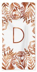 Letter D - Rose Gold Glitter Flowers Bath Towel