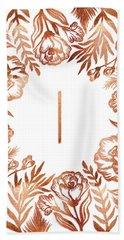 Letter I - Rose Gold Glitter Flowers Hand Towel