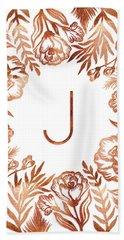 Letter J - Rose Gold Glitter Flowers Hand Towel