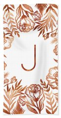 Letter J - Rose Gold Glitter Flowers Bath Towel