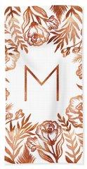 Letter M - Rose Gold Glitter Flowers Hand Towel