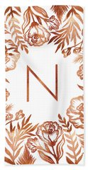 Letter N - Rose Gold Glitter Flowers Bath Towel