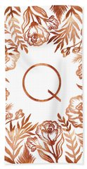 Letter Q - Rose Gold Glitter Flowers Bath Towel