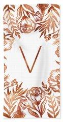 Letter V - Rose Gold Glitter Flowers Hand Towel
