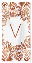 Letter V - Rose Gold Glitter Flowers Bath Towel