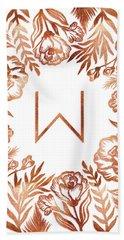 Letter W - Rose Gold Glitter Flowers Hand Towel