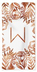 Letter W - Rose Gold Glitter Flowers Bath Towel