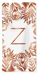 Letter Z - Faux Rose Gold Glitter Flowers Bath Towel