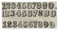 Letters And Numbers Bath Towel