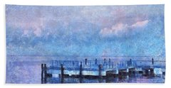 Hand Towel featuring the mixed media Lewes Pier by Trish Tritz